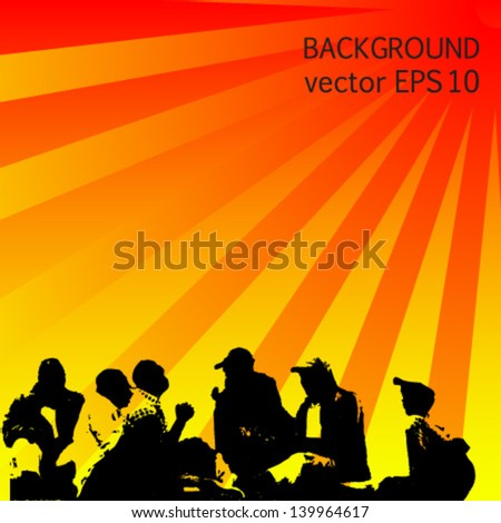 people out of work on orange background vector - stock vector
