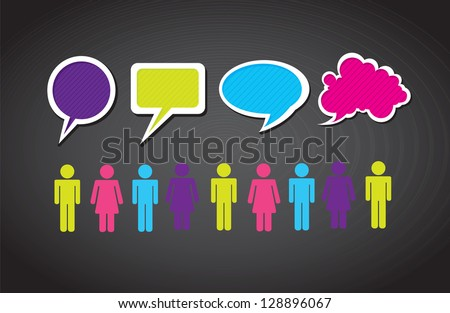 People over black background and colors cloud - stock vector
