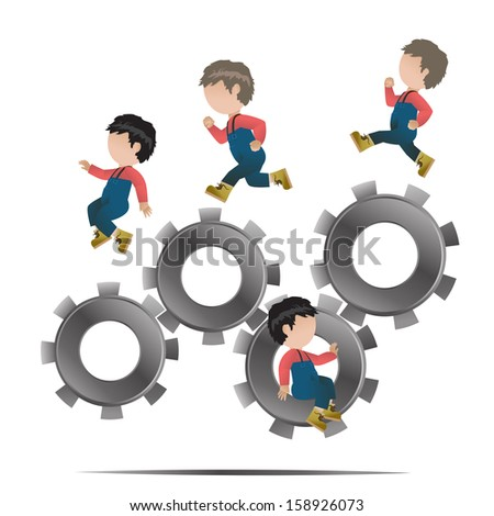 People Over Gear Wheel Set - Isolated On White Background - Vector Illustration, Graphic Design Editable For Your Design - stock vector