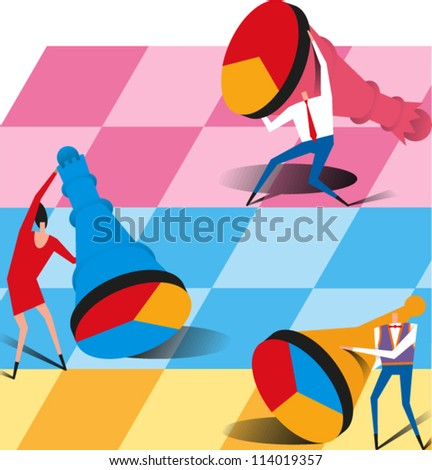 People playing a very large game of chess - stock vector