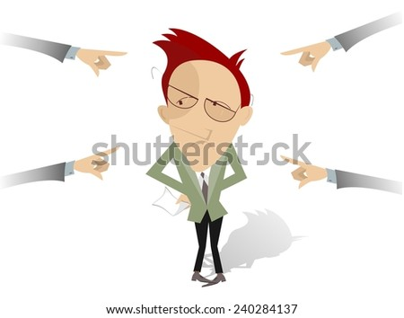 People point the finger at the confused man - stock vector