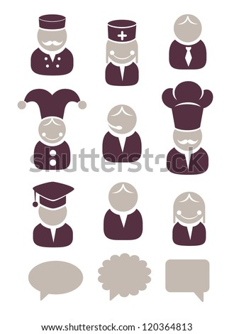 People profession icons set - stock vector