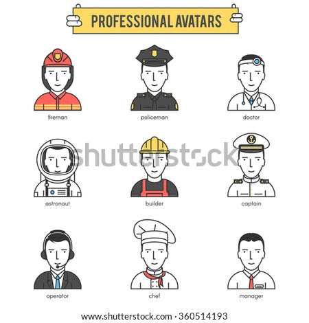 People professional avatars. Modern flat line vector icons set illustration icons set pictogram pack. Stroke vector logo concept for web graphics. - stock vector