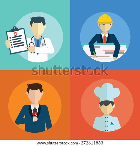 People professions flat icons set with doctor engineer chef reporter isolated vector illustration - stock vector