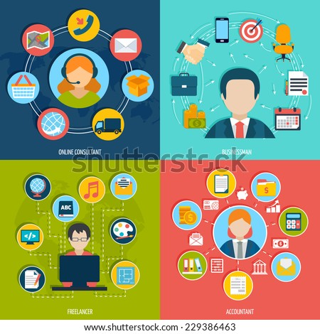 People professions flat icons set with online consultant businessman freelancer accountant isolated vector illustration - stock vector