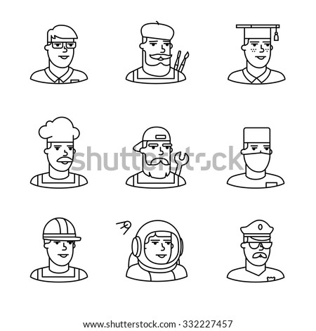People professions paces icons thin line art set. Hipster characters. Black vector symbols isolated on white. - stock vector