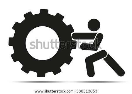People pushes tire wheel on training. Simple symbol of crossfit. Vector Illustration isolated on a white background.  - stock vector