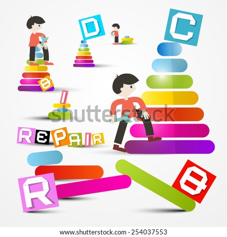People Repairing - Maintaining Site Objects - stock vector