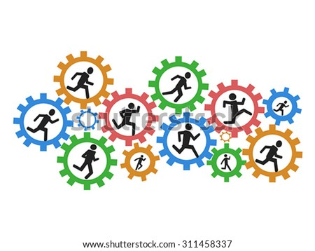 people running gears - stock vector