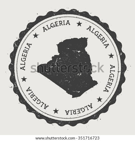 People's Democratic Republic of Algeria. Hipster round rubber stamp with Algeria map. Vintage passport stamp with circular text and stars, vector illustration - stock vector