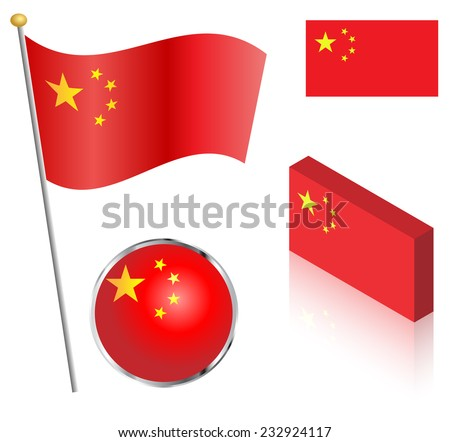 People's Republic of China flag on a pole, badge and isometric designs vector illustration.  - stock vector