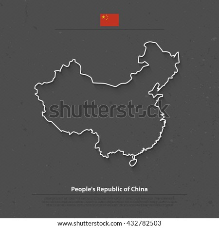 People's Republic of China isolated map and official flag icons. vector Chinese political map thin line illustration. Asian country geographic banner design. travel, business concept map. vector maps - stock vector