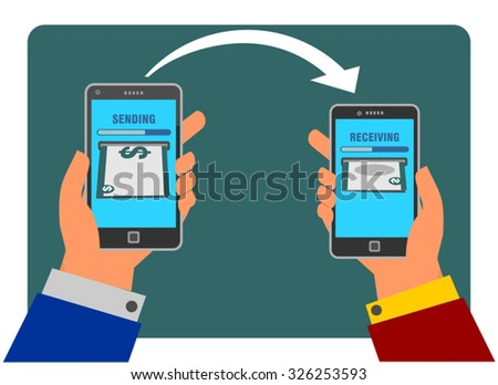 People sending and receiving money using their mobile phone. Internet banking and mobile payments using smartphone, cash and near field communication technology, online banking. Payment methods. - stock vector