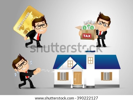 People Set - Business - Business - Debt concept - stock vector