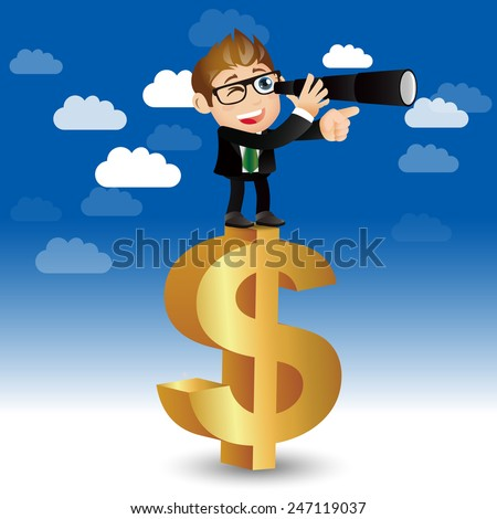 People Set - Business - Businessman on a money sign - stock vector