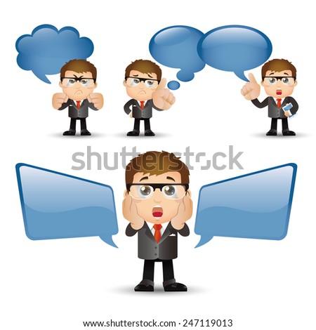 People Set - Business - Businessman talking. Speech bubbles -1 - stock vector