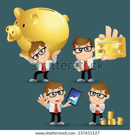 People Set - Business - Businessmen. finance set. Gold - stock vector