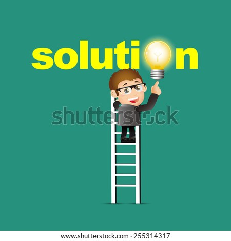 People Set - Business - Businessmen pointing solution symbol - stock vector