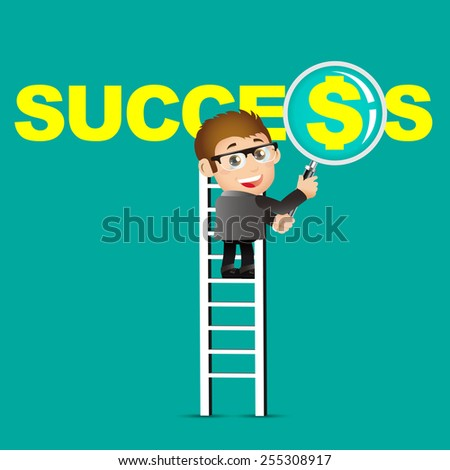 People Set - Business - Businessmen. Success and dollar - stock vector