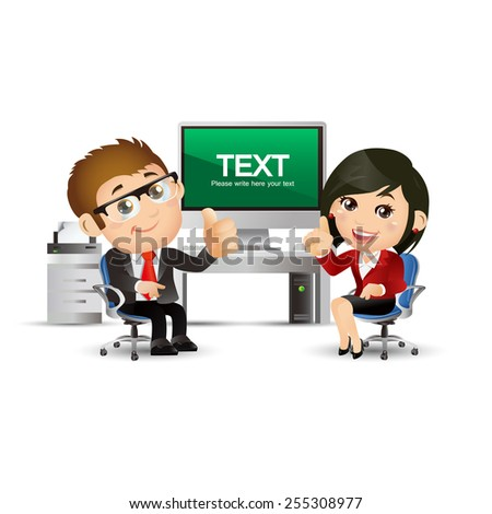People Set - Business - Businesspeople discuss at computer. sitting - stock vector