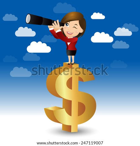 People Set - Business - Businesswoman on a money sign - stock vector