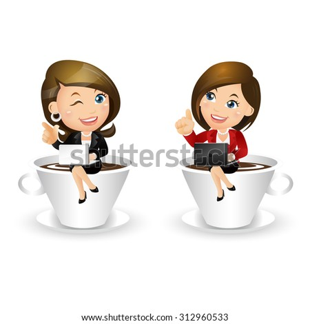 People Set - Business - Businesswoman with cup of coffee - stock vector