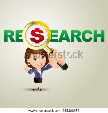 People Set - Business - Businesswomen. Research and dollar - stock vector
