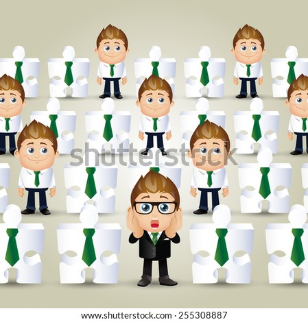 People Set - Business - Concept of businessman and jigsaw puzzle crowd - stock vector
