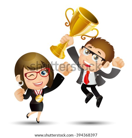 People Set - Business - Happy businesspeople jumping celebrating success achievement - stock vector