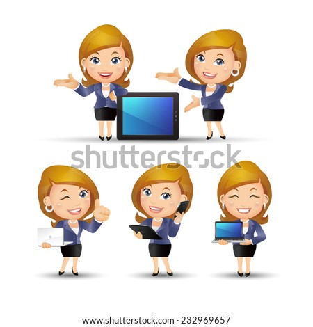 People Set - Business - Office women on the net - stock vector