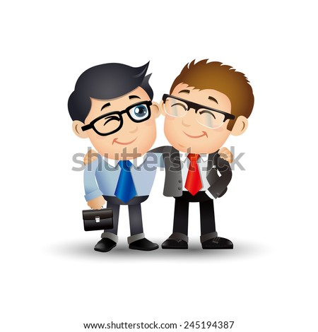 People Set - Business - Two businessman holding each other's shoulder in teamwork - stock vector