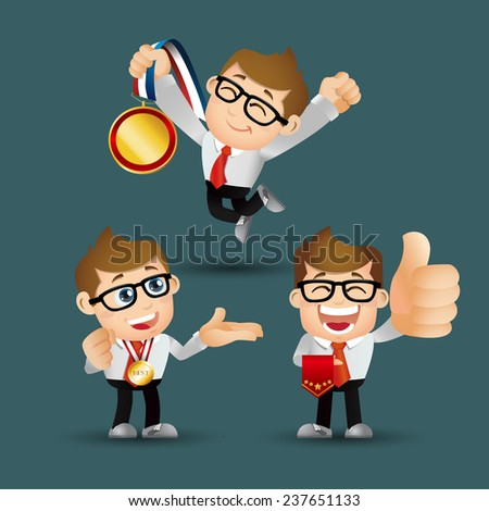 People Set - Business - Victorious. Businessmen - stock vector