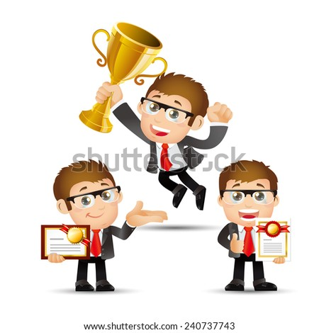 People Set - Business - Victorious. Office men - stock vector