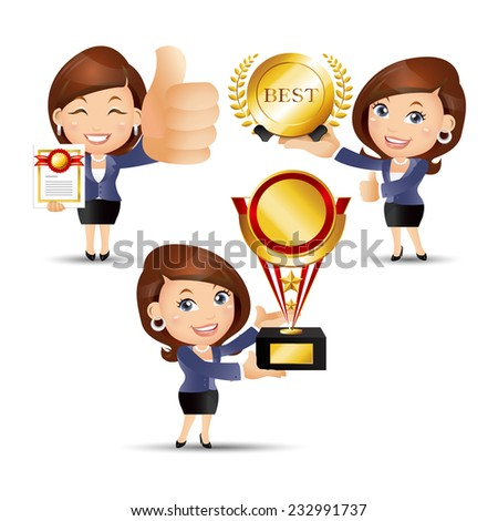 People Set - Business - Victorious. Office woman - stock vector