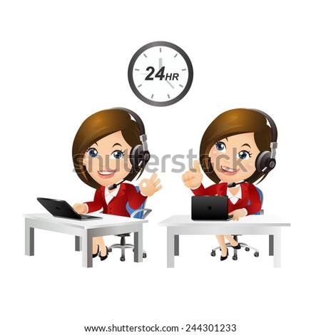 People Set - Business - Women. Customer support with headphones-3 - stock vector