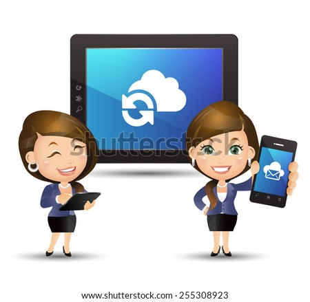 People Set - Cloud computing - Businesswoman with cloud computing - stock vector