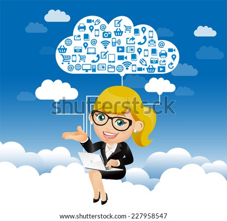 People Set - Cloud computing -Businesswoman work in the sky - stock vector