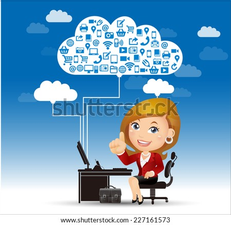 People Set - Cloud computing -Businesswoman working on the cloud - stock vector