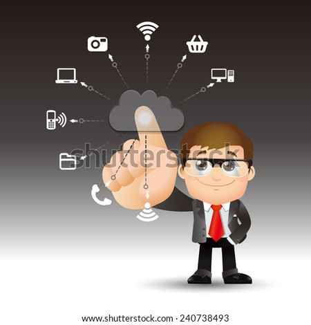 People Set - Cloud computing - cloud computing men. blue - stock vector