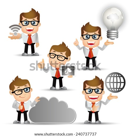 People Set - Cloud computing - 5 cloud computing men. gray light - stock vector