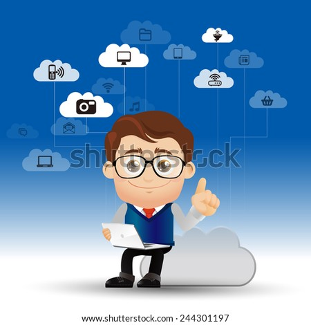 People Set - Cloud computing - cloud computing men. w cloud - stock vector