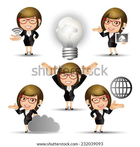 People Set - Cloud computing - 5 cloud computing women. gray light - stock vector
