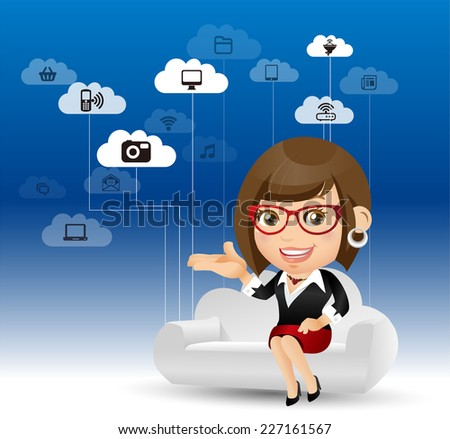People Set - Cloud computing -Woman on the cloud - stock vector