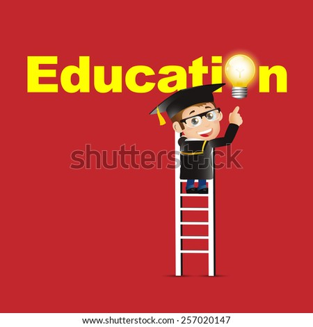 People Set - Education - Graduate student. Man pointing education symbol - stock vector