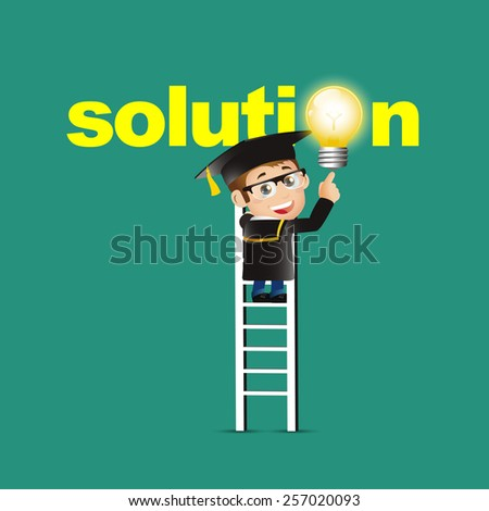 People Set - Education - Graduate student. Man pointing solution symbol - stock vector