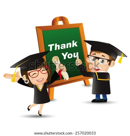 People Set - Education - Graduate student. Thank you. Man. Woman - stock vector
