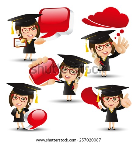 People Set - Education - Graduate student. Woman holding speech bubbles - stock vector