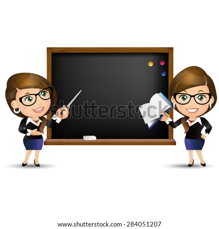 People Set - Education - Teacher. Woman. Blackboard - stock vector