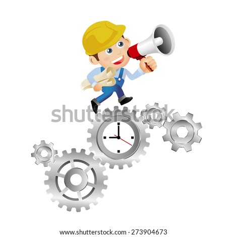 People Set - Profession - Construction time management - stock vector