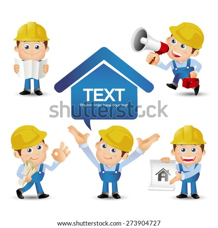 People Set - Profession - Set of builder character - stock vector